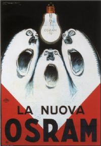 Vintage La Nuova Osram Italian Light Bulb Advertising Poster